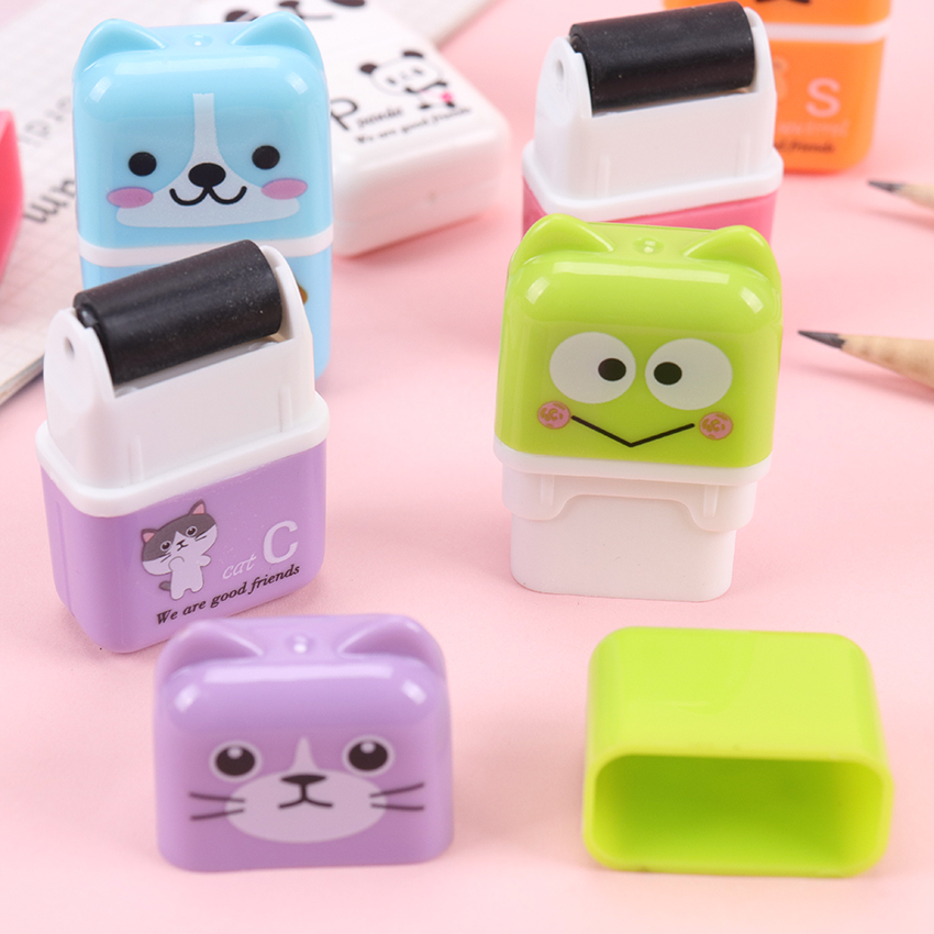1PC Colorful Rubber Erasers Cartoon Roller Pencil Eraser Students Stationery School Supplies For Children Kids