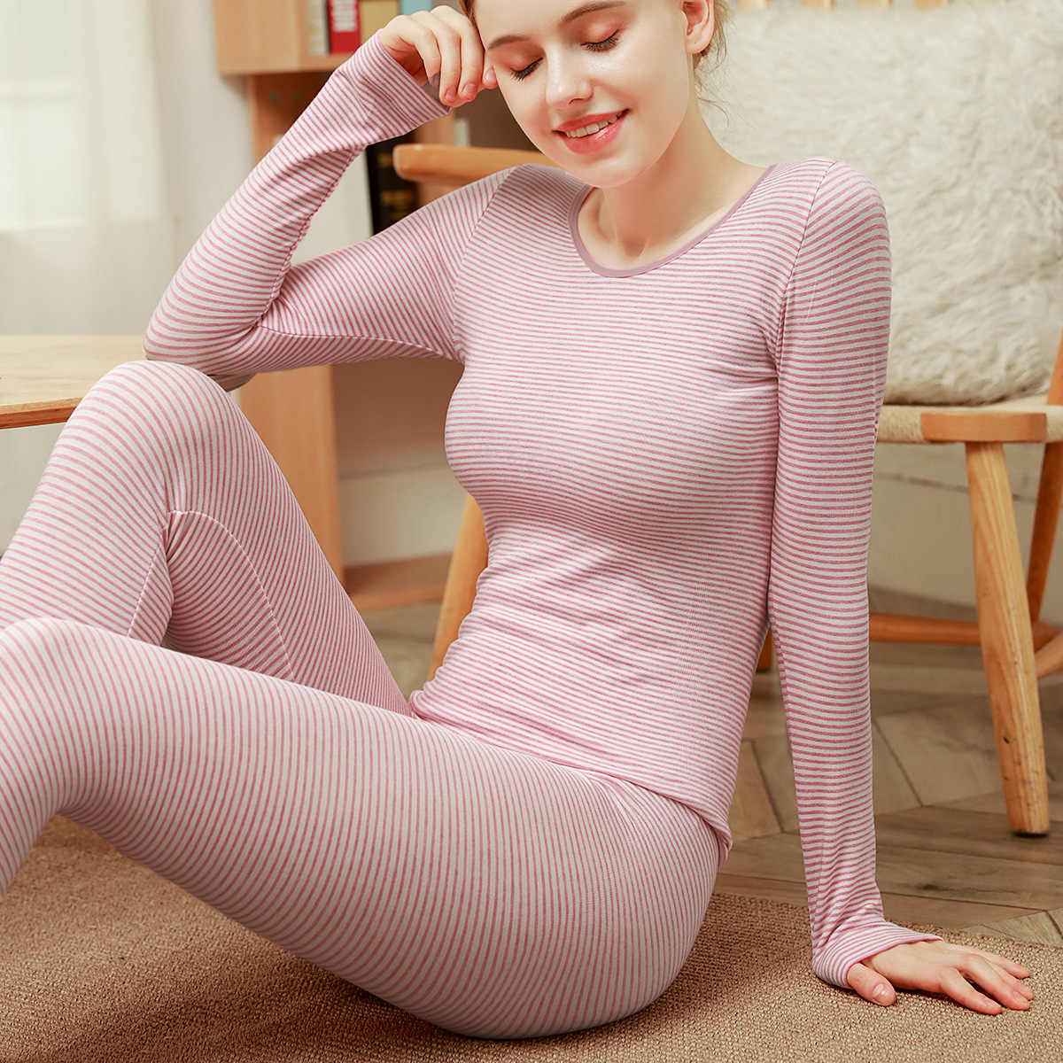 Thermal Underwear Set Women Autumn Winter Thermo Longsleeve Pants and Tops Casual Women 2 Piece Solid Color Elegant Simple Fashion Outdoor Warm Underwear Functional Underwear