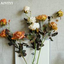 Roses sèches et rôties pour décoration de noël, 3 têtes, pour maison, mariage, fête d'automne, bureau, mur de fleurs artificielles