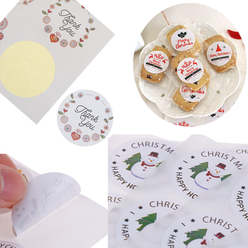 <font><b>90</b></font>/120pcs 10Sheets Christmas Sealing Paper Stickers Thank For Candy Cookie Packing Bags Box For Wedding New <font><b>Year</b></font> Party DIY Acc image