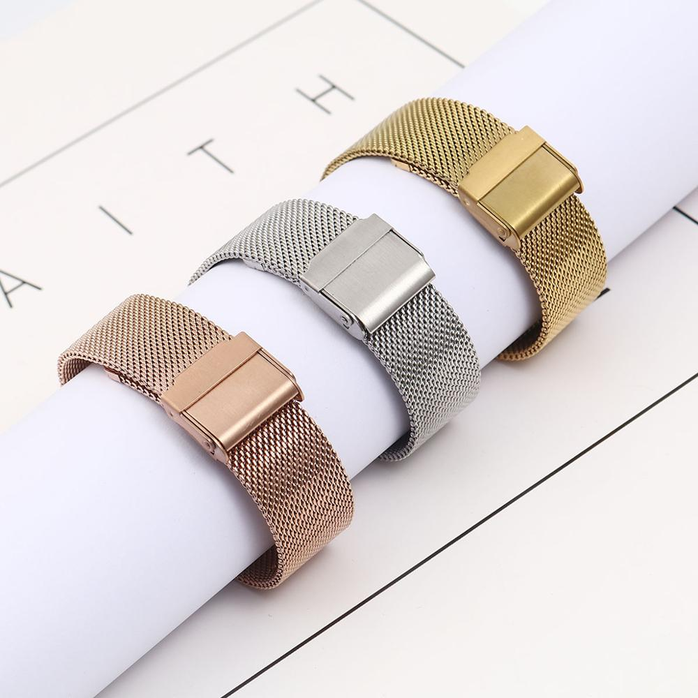 Fashion Stainless Steel Watch Strap Metal Mesh Wristwatch Band Women Men Bracelet Watch Band Watch Strap,12/14/16/18/20/22mm