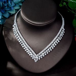 Image 4 - HIBRIDE Shinning Pave CZ Dubai Jewelry Sets 2020 Women Wedding Zirconia Leaf Design Copper 4pcs Jewelry Set collier mariag N 896