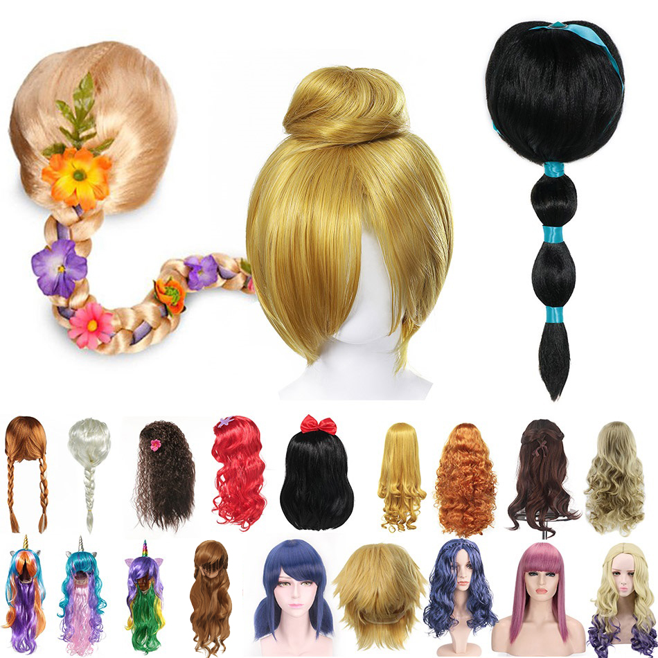 Girls Princess Dress Up Accessories Headgear Synthetic Hair Jasmine Elsa Wig Rapunzel Braid Descendants 3 Mal Evie Cosplay Wigs