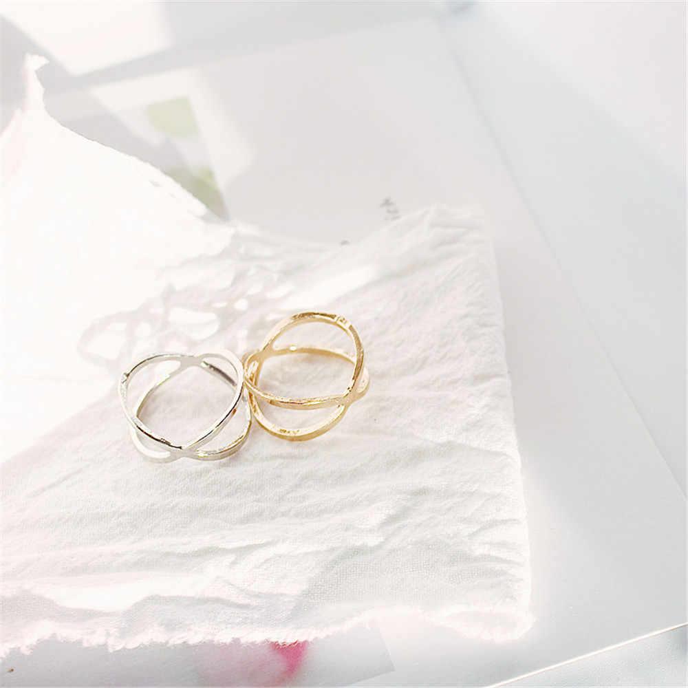 GW ใหม่ X CROSS สเตอริโอ cutout รอบแหวนแฟชั่นผู้หญิงแหวนเงินแหวนบุคลิกภาพแหวนผู้หญิงเครื่องประดับขายส่ง