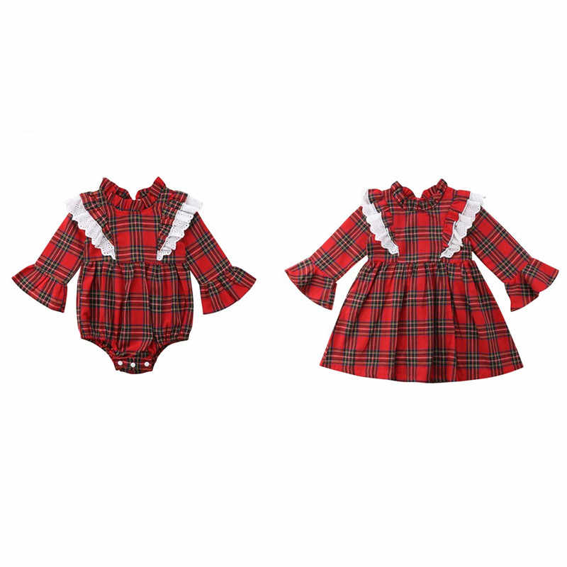 Mode Baby Meisjes Plaids Zusters bijpassende outfits Fall Zomer Kleding set Peuter Pasgeboren Kant prinses Romper Party Dress 0-6Y