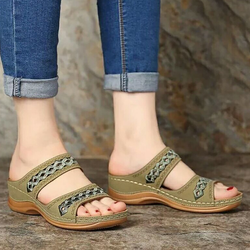 Women's Summer Open Toe comfort Sandals Soft platform Walking Beach Hallow Sandals roman gladiator sandals Retro image