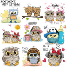 ZOTOONE Cute Music Owl Patch Animal Stickers Iron on Transfers for Clothes T-shirt Accessory Applique DIY Heat Transfer G цена
