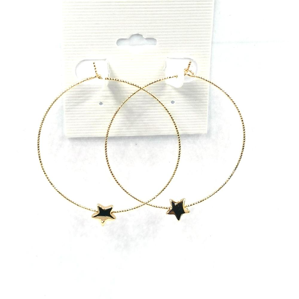 Oversize Hollowed Out Round Mini Star Flash Dangle Earrings Women Creative Christmas Gift Jewelry Wholesale
