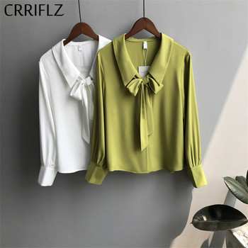 Peter Pan Collar Chiffon Blouse Women Bow Ribbon Full Length Sleeve Spring Autumn Single Breasted Solid Shirts Female CRRIFLZ цена 2017