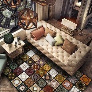 Image 4 - Модный мусульманский ковер с паркетом для гостиной, винтажный Американский коврик, нескользящий напольный коврик для спальни, индивидуальный коврик для дверей