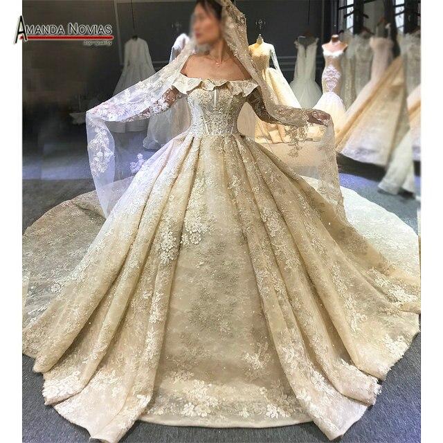 Vestido de novia de lujo con cuentas, pedrería recargable, sin velo, Dubái, 2020
