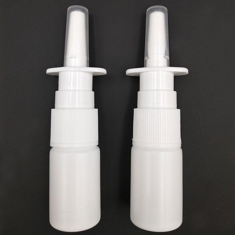 2Pcs/Lot 10ml White Empty Plastic Nasal Spray Bottles Pump Sprayer Mist Nose Spray Refillable Bottle For Medical Packaging