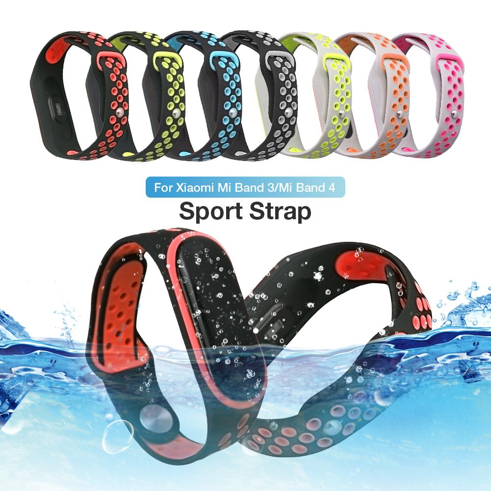 9.65inch Sport Strap Double-color Silicone Bnad Strap For Xiaomi Mi Band 3 4 Waterproof Wearable Porous Position Design