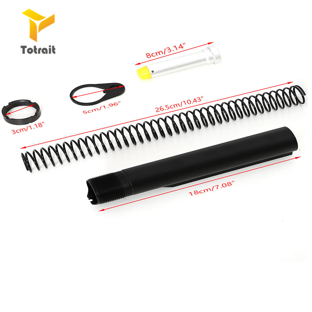 Totrait Tactical AR15 Latch Mil-spec 6 Position Buffer Extension Tube Rod Assembly /Kit 5 Items Combo Cylinder Rod End Plate Spr