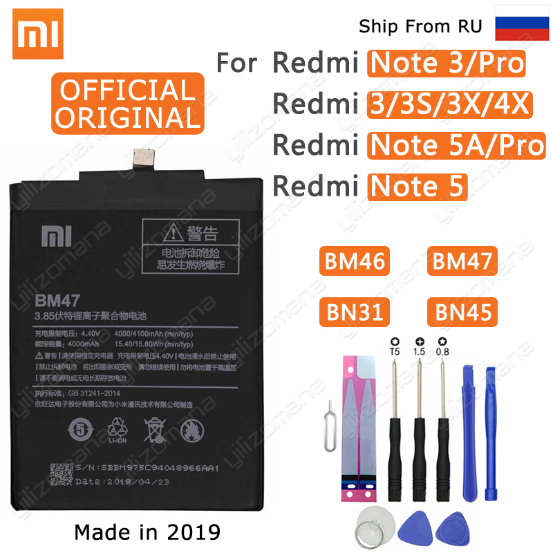 Xiao Mi Original Phone Battery BM47 For Xiaomi Redmi 3 3S 3X 4X 3 pro Note 3 5 5A Pro Mi 5X BM46 BN31 BN45 Replacement Batteries