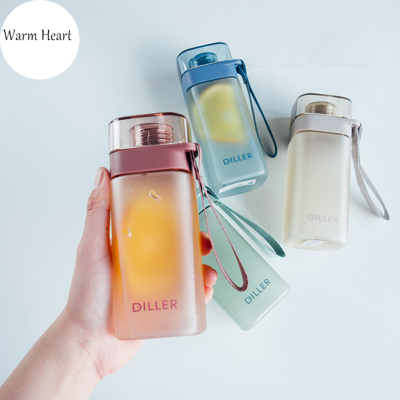 400ML BPA Free Water Bottles Square Outdoor Travel Portable Leakproof Eco-friendly Plastic Drinkware For Women Men Lovers