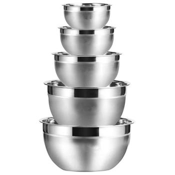 Nowa miska do mieszania ze stali nierdzewnej (zestaw 5) salaterka na owoce miska zestaw miska do sałatek kuchennych tanie i dobre opinie Stałe 1 2L Ekologiczne Na stanie CN (pochodzenie) Mixing Bowl Metal Pigmentowane JEDNA