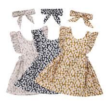 6M-4Y niño pequeño bebé niñas vestido Floral volantes sin mangas una línea vestidos para bebés niñas Vintage vestido de flores trajes de verano