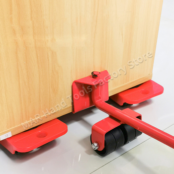 5 Pcs Furniture Moving Transport Roller Set Removal Lifting Moving Tool Set Wheel Bar Mover Device Max Up for 400 KG