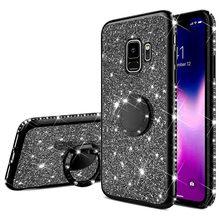 Moda Anel Bling Caso Capa Mole Para Samsung Galaxy S8 S9 S10 Plus S10e A10 A20 A20E A30 A40 A50 A60 A70 A6 A8 J4 J6 Plus 2018