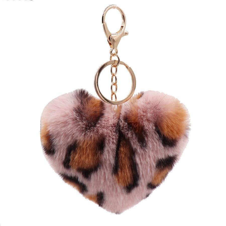 Faux Rabbit Fur Ball Plush Toy Key Chain Pompom Leopard Plush Heart Keychain Pom Pom Round Ball Trinket