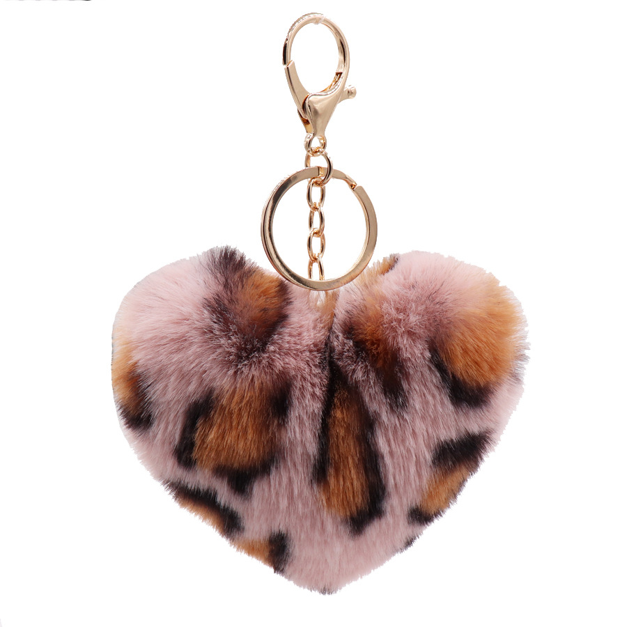 Faux Rabbit Fur Ball <font><b>Plush</b></font> <font><b>Toy</b></font> <font><b>Key</b></font> <font><b>Chain</b></font> Pompom Leopard <font><b>Plush</b></font> Heart Keychain Pom Pom Round Ball Trinket image