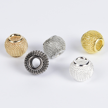 10Pcs/lot 10x12mm Copper Brass Mesh Charms Beads For Jewelry Making Large Hole Spacer Diy