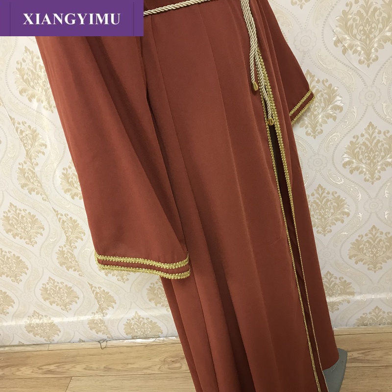 F819Abaya Qatar Turkish Islamic Malaysia Ruffle Pleated Muslim Hijab Dress Abayas For Women Robe Musulmane Kaftan Dubai Clothing
