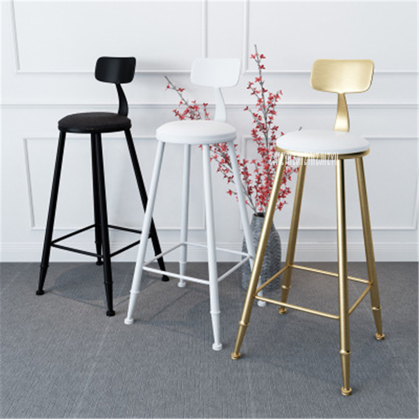 TX8909 Creative Flannelette / Leather Gold Bar Backrest Chair Sponge Lron Art Bar Tall Stool Modern Simple Round High Stool