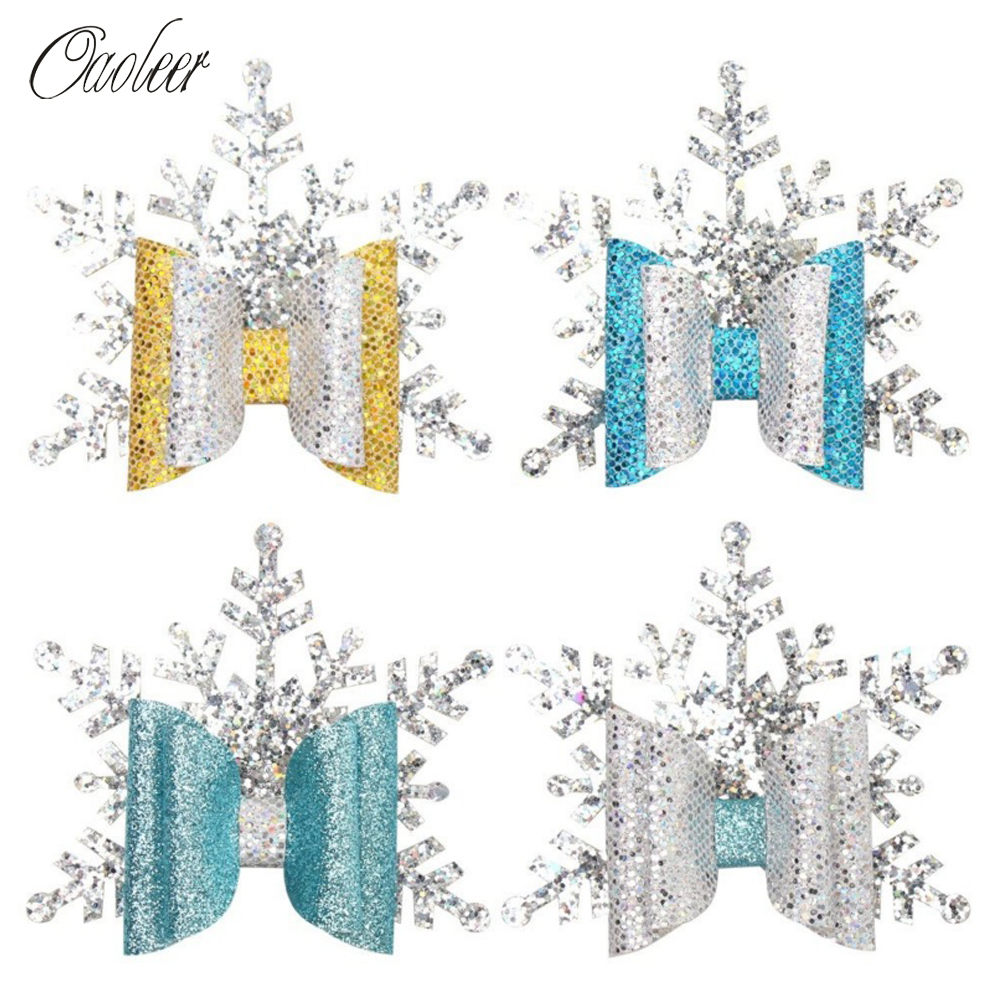4 Pcs/Lot Christmas Barrettes For Girls Sparkly Glitter Snowflake Hairpins Handmade Kids Hair BowsXmas Party Headwear