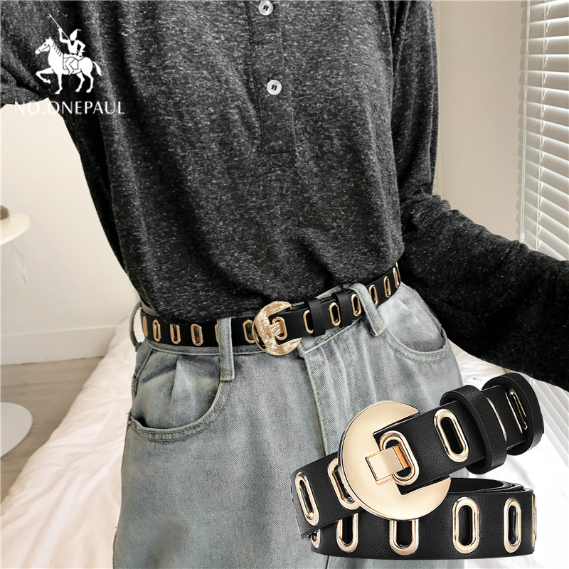 NO.ONEPAUL Women's Luxury Brand Hollow Fashion Authentic Belt Wild Student Jeans Trend Personality  Ladies Belt Free Shipping