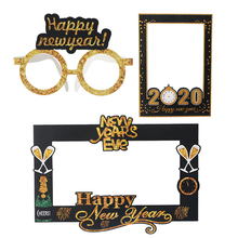 купить 2020 Happy New Year Photo Booth Glasses Photo Props New Year Eve Photobooth Props Christmas Decoration Navidad Party Supplies по цене 87.93 рублей