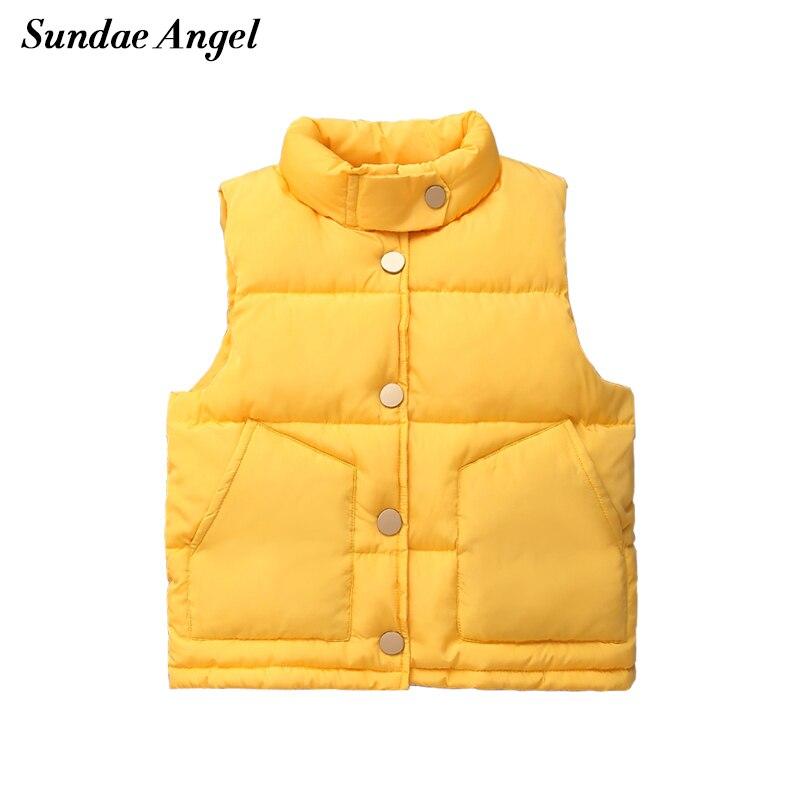Sundae Angel Children's Vest For Girls Stand Collar Solid Sleeveless Jacket Boys Vests Winter Waistcoat Kids Gilet Fille Coats
