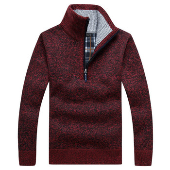 Autumn Men's Thick Warm Knitted Pullover Solid Long Sleeve Turtleneck Sweaters Half Zip Warm Fleece Winter Coat Comfy Clothing 1