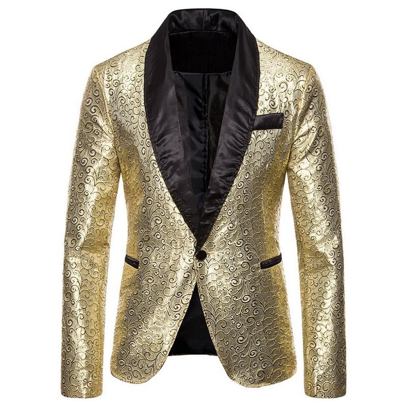 Men's Jacquard Suit Sequin Slim Solid Mens DJ Stage Blazer Jacket Coat Full Sleeve Business Office Casual Blazer Men Masculino