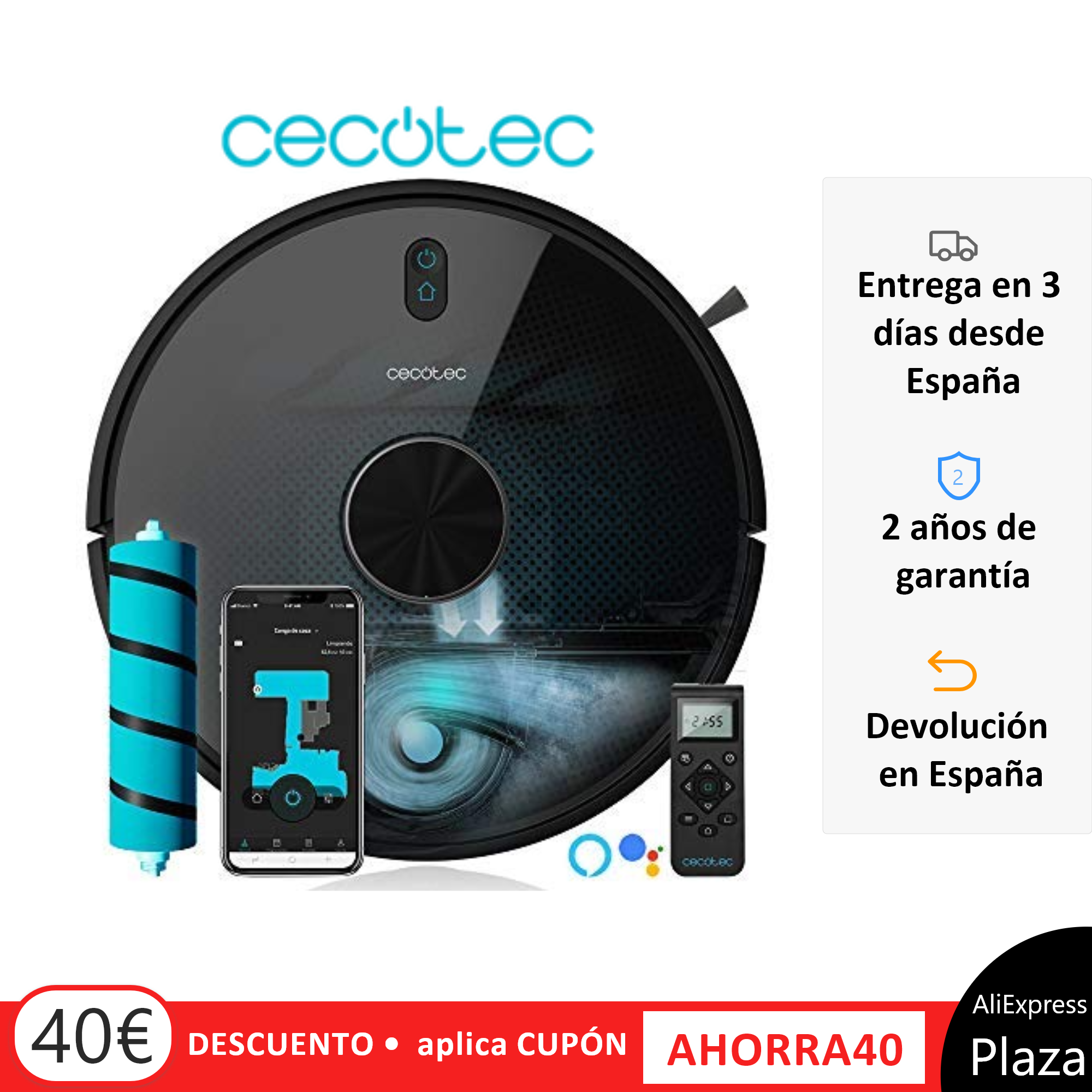 Cecotec Robot Aspirador Conga. Elige 5090 - 4090 - 3690 - 3490 - 3290 Gestión, Aspira, Barre, Friega, Cepillo Jalisco