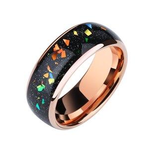 Image 5 - 8 мм ширина Опал Обручальные Мужские t вольфрамовые кольца розовое золото вольфрамовые мужские ювелирные изделия, бесплатная доставка