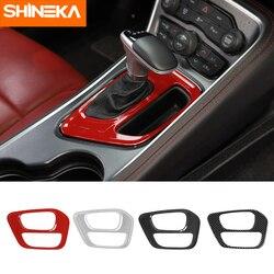SHINEKA naklejki na samochód dla Dodge Challenger wnętrze samochodu skrzynia zmiany biegów pokrywa osłonowa naklejki dla Dodge Challenger 2015-2019