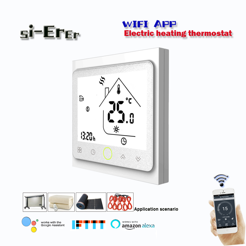 16A Wifi Smart Thermostat Temperature Controller Electric Floor Heating  Works With Alexa Google