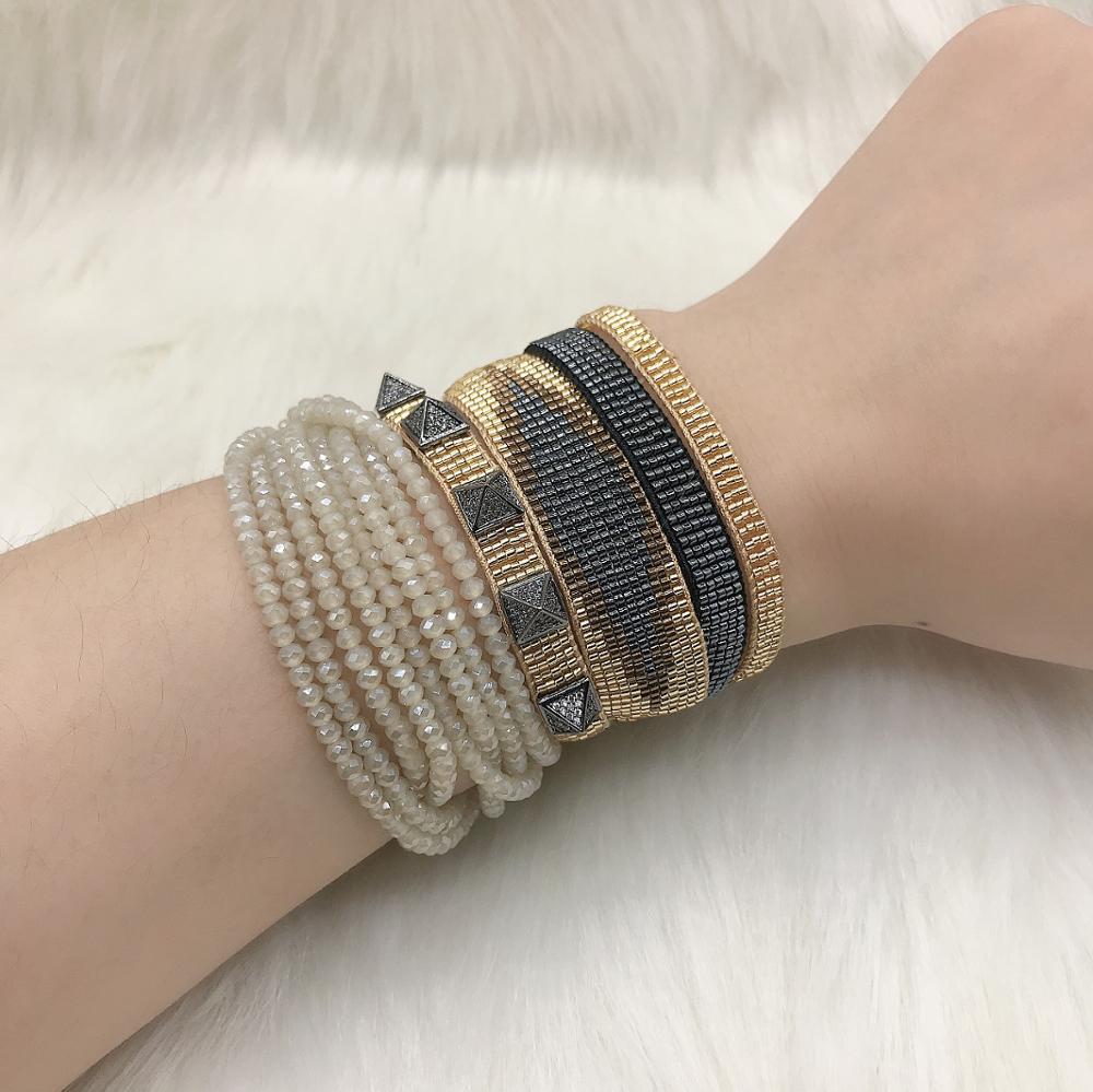 BLUESTAR 5pcs one set MIYUKI Micro pave Rivet Bangles Handmade Boho Evil Eye Woven Crystal Bracelets