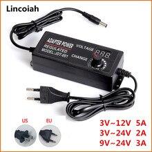Adaptador Universal de fuente de alimentación de transformador, adaptador de fuente de alimentación de 3, 12 y 24 V, para tira LED, CA ajustable de 100-240V a CC de 3V-12V, 3V-24 V, 9V-24v