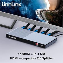 Unnlink HDMI תואם 2.0 ספליטר 1X4 UHD 4K @ 60HZ 4:4:4 HDR HDCP 2.2 18Gbp 3D עבור LED חכם טלוויזיה MI תיבת PS4 xbox אחד מתג