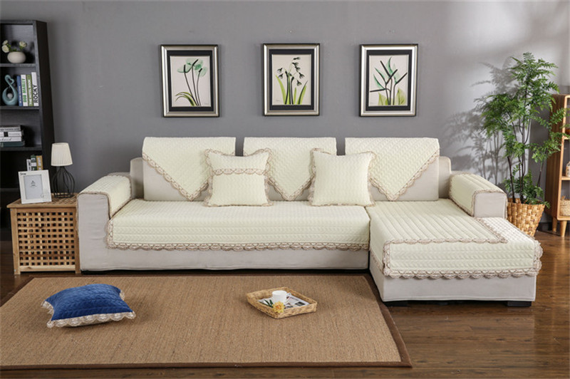 Thick Slip Resistant Couch Cover for Corner Sofa Made with Plush Fabric Including Lace for Living Room Decor 67
