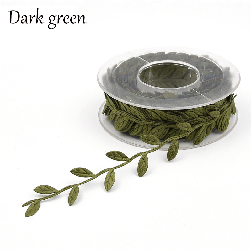 15Meter Roll Dark Green Silk Satin Ribbons Wedding Decorations 25mm DIY Handmade Christmas Gift Ribbon Leaf Wrapping Supplies in Ribbons from Home Garden