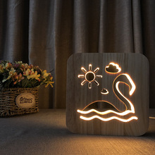 цена на Wooden LED Night light Creative Decorative Lighting Flamingo Nightlight USB Desk Lamp 3d Bedroom pine hollow LED table Lighting