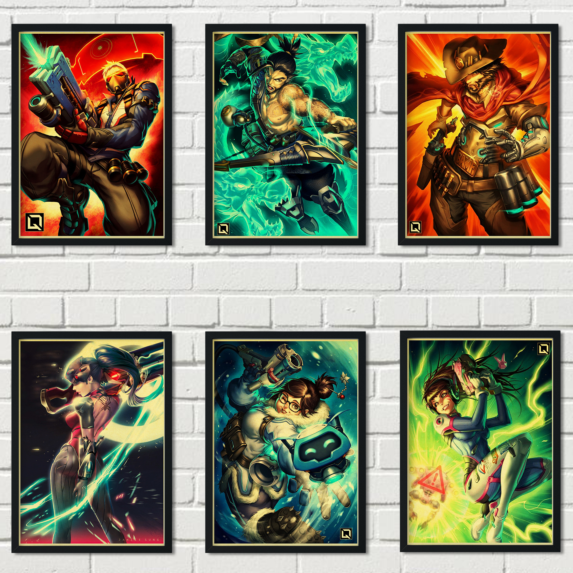 Retro kraft paper poster art deco painting popular multiplayer game Overwatch family wall art deco poster a57 image