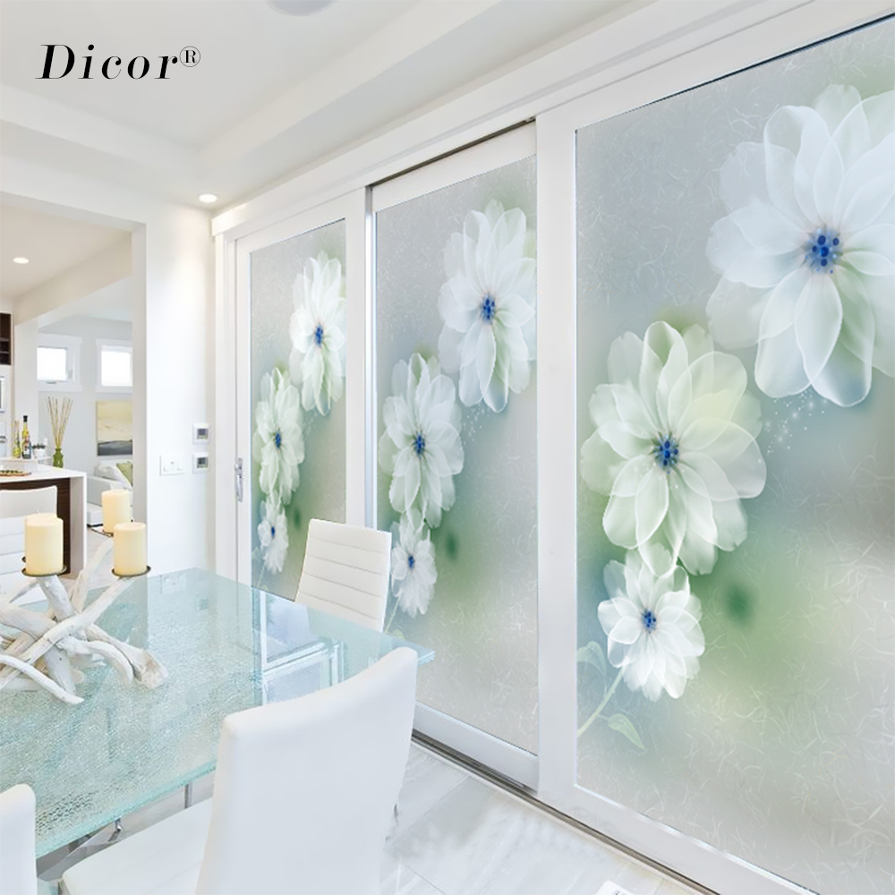 DICOR No Glue Stained Glass Decorative Film Frosted Opaque Privacy Window Sticker Home Decor Removable Static Cling Decal BLT282 in Decorative Films from Home Garden