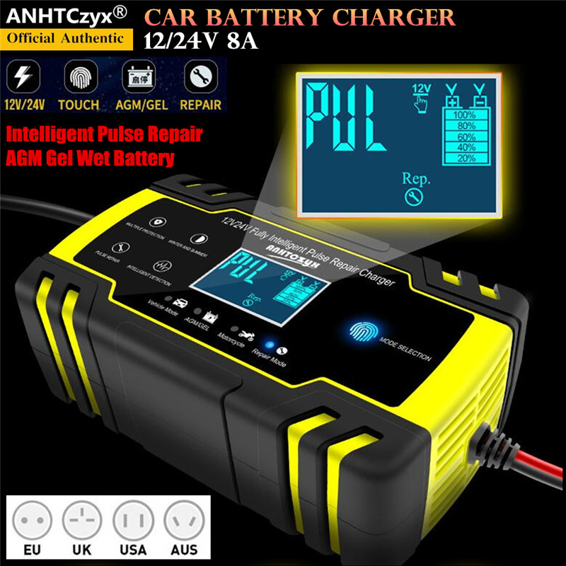 12/24V 8A LCD Touch Screen Automatic Car Battery Charger Intelligent Pulse Repair Chargers Lead Acid AGM Gel Wet Battery charger Chargers     - title=