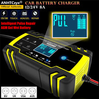 12/24V 8A LCD Touch Screen Automatic Car Battery Charger Intelligent Pulse Repair Chargers Lead Acid AGM Gel Wet Battery charger|Chargers| |  -