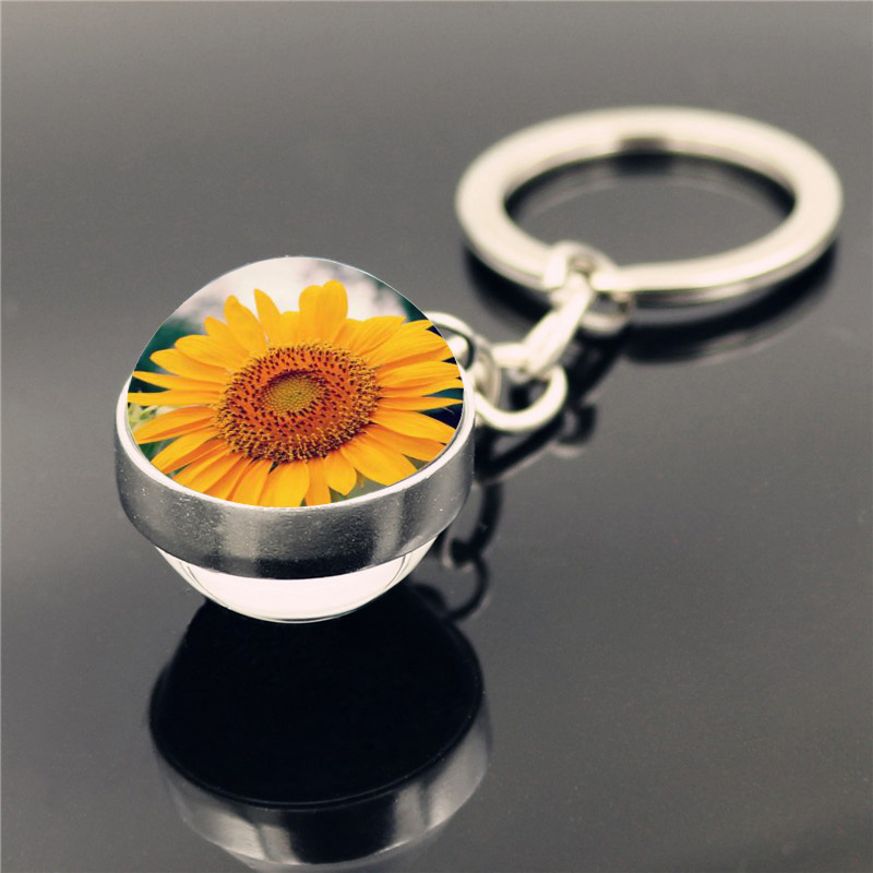 Sunflower Keyring Keychain Women Jewelry Accessories Fashion Double Side Cabochon Glass Ball Keychain Car Key Ring Holder Gift